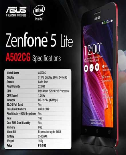 Asus ZenFone 5 Lite Smartphone with Intel Atom Z2520 Processor