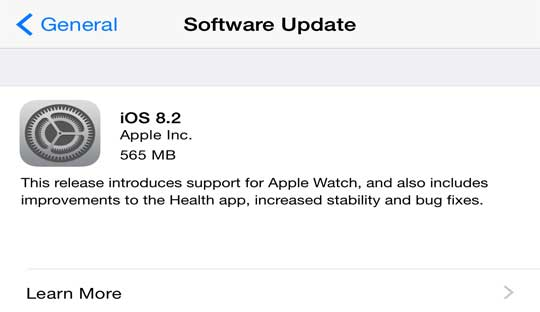 Apple iOS 8.2 for Apple devices available for download