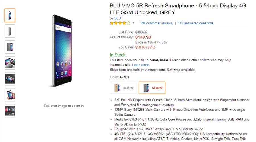Blu Vivo 5R Price