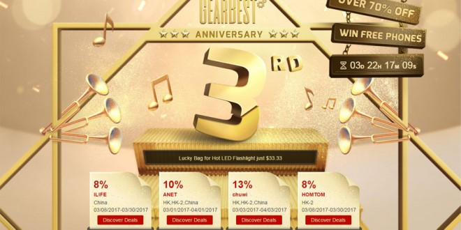 GearBest 3rd Anniversary Sale Starts Today With Flash Deals, Coupons, Discounts