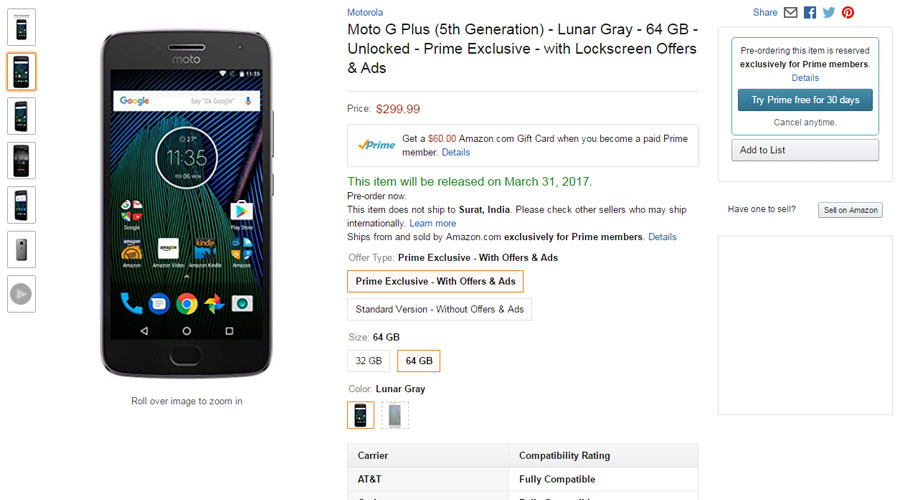 moto g5 plus price usa