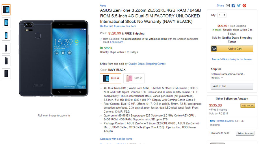 Asus ZenFone 3 Zoom Price in USA