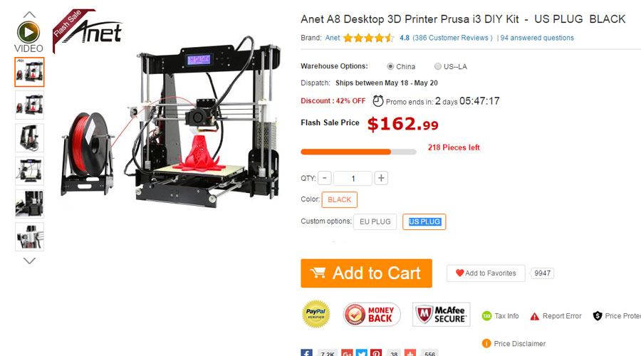 Anet A8 3D Printer Prusa i3 DIY Kit