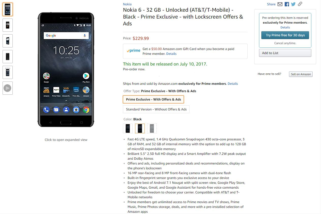Nokia 6 Price in USA