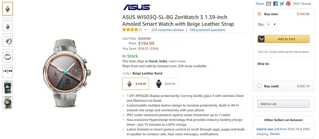 Asus ZenWatch 3 Price in USA