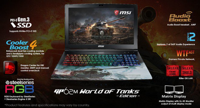 MSI GP62M World of Tanks Edition Gaming Laptop