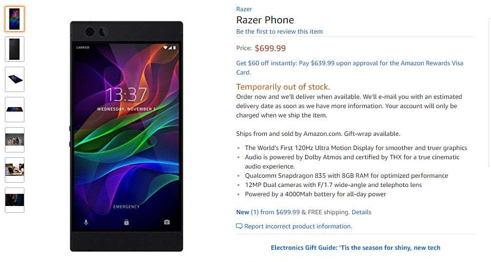 Razer gaming Phone price in usa
