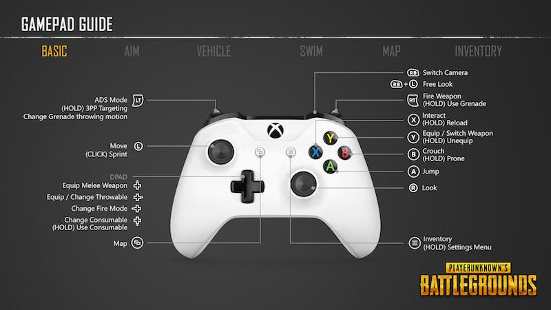 PlayerUnknown's Battlegrounds Xbox One Control Scheme