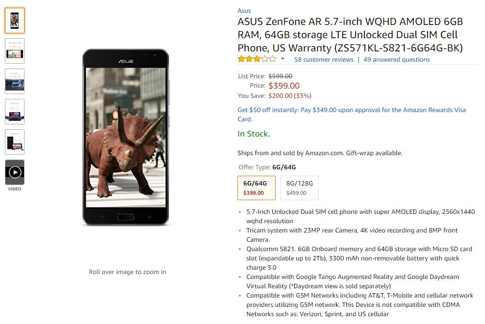 Asus ZenFone AR price in usa