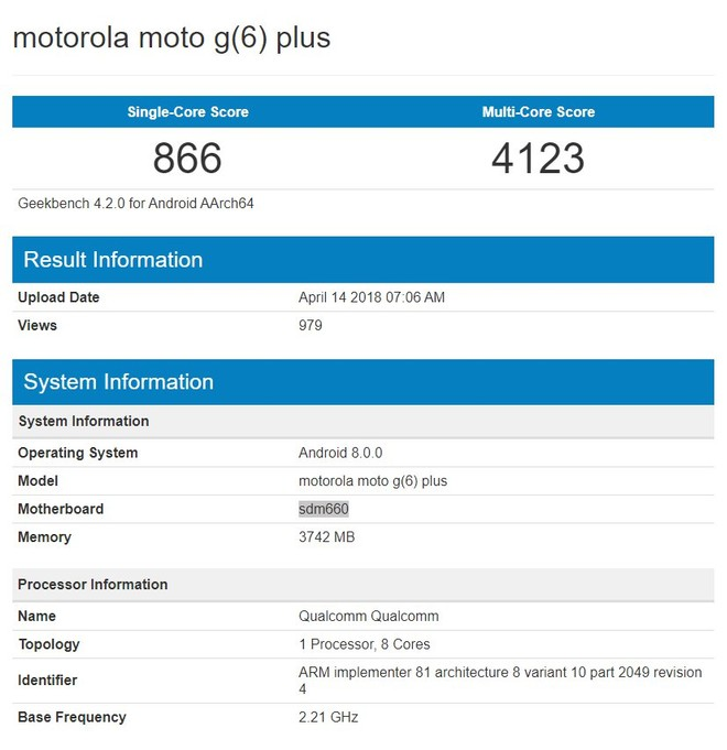 Motorola Moto G6 Plus geekbench
