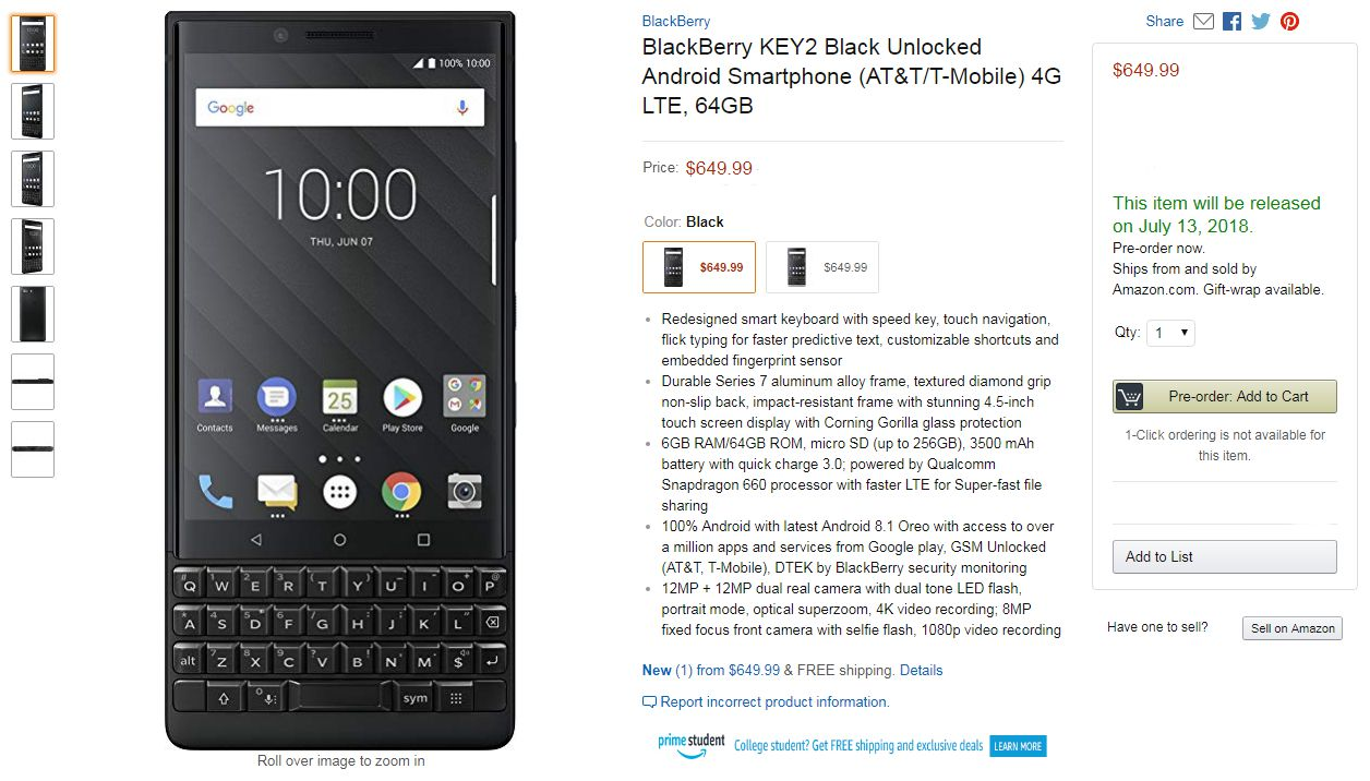 BlackBerry KEY2 price in usa