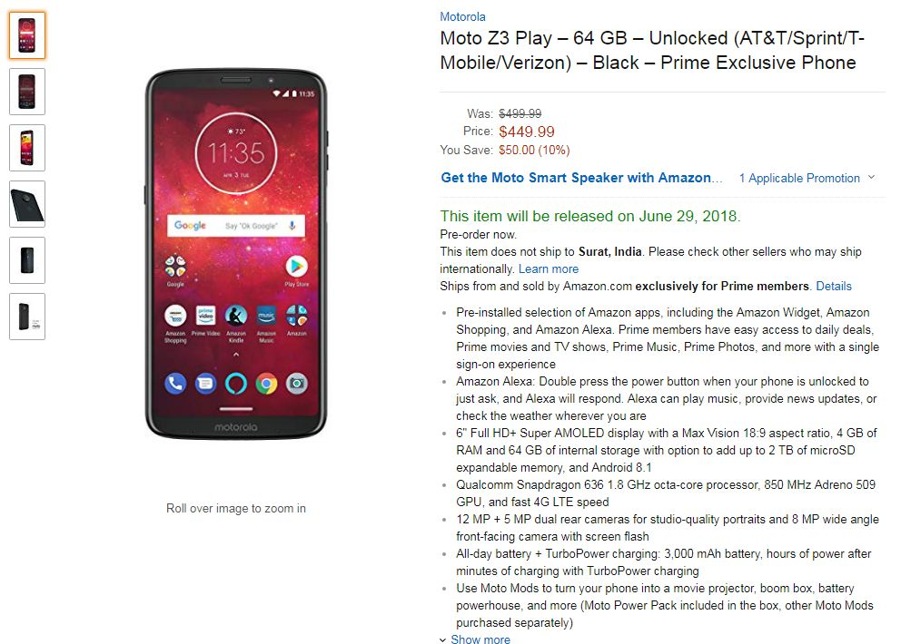 Moto Z3 Play Prime Exclusive Phone