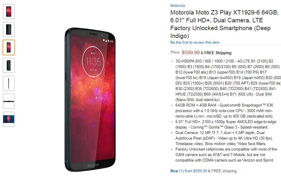 Moto Z3 Play price in usa