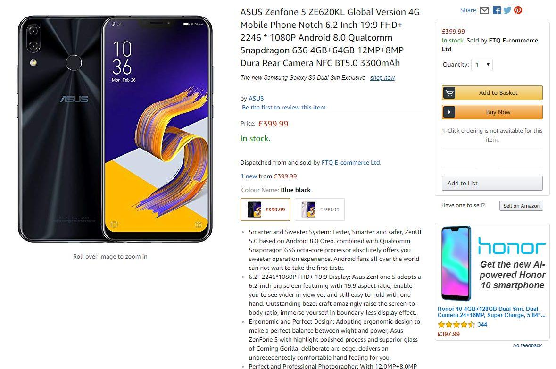 Asus ZenFone 5 price in UK