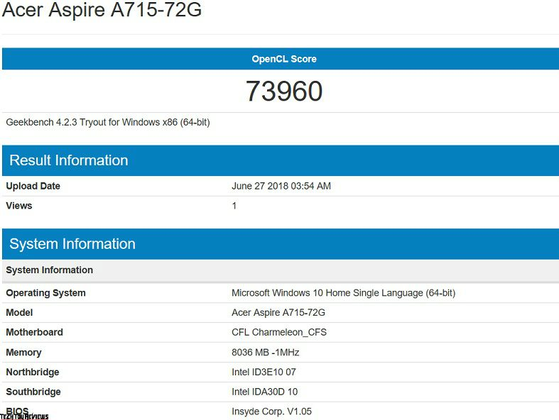 Aspire A715 72G specifications