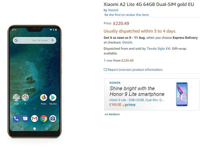 Xiaomi A2 Lite price in UK