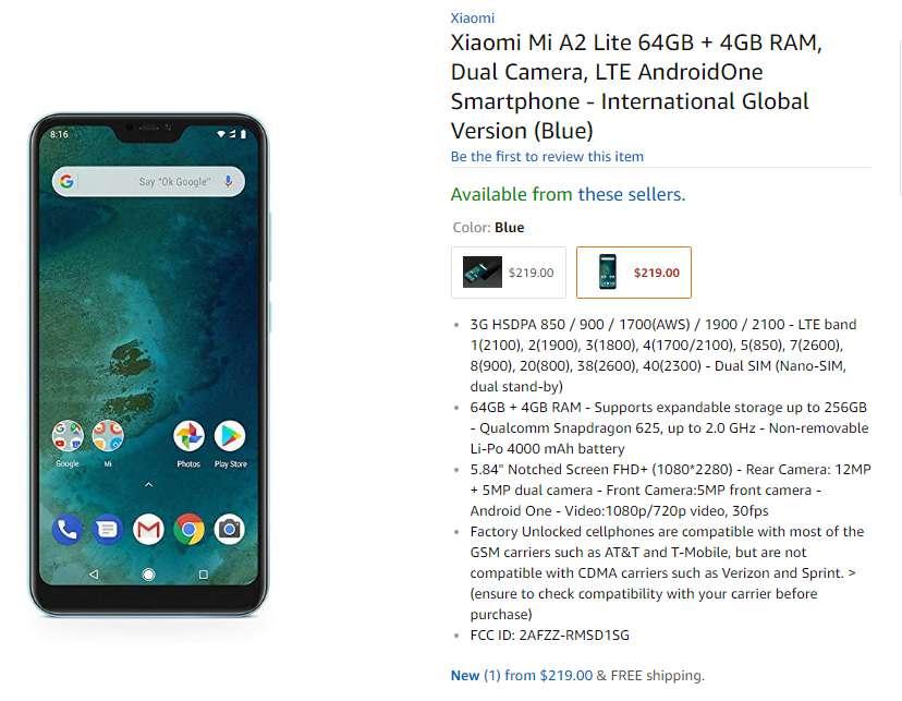 Xiaomi Mi A2 Lite Amazon USA