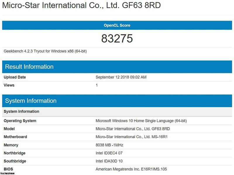 MSI GF63 8RD Performance