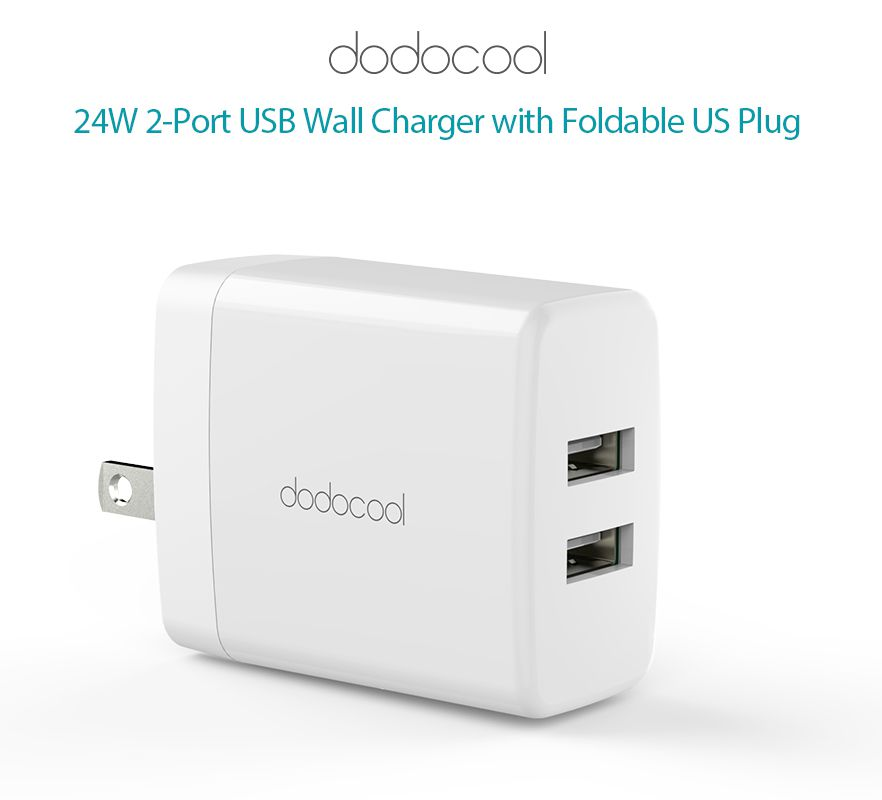 Dodocool 24W 2-Port USB Wall Charger Power Adapter