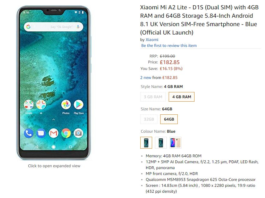 Xiaomi Mi A2 Lite Price in UK