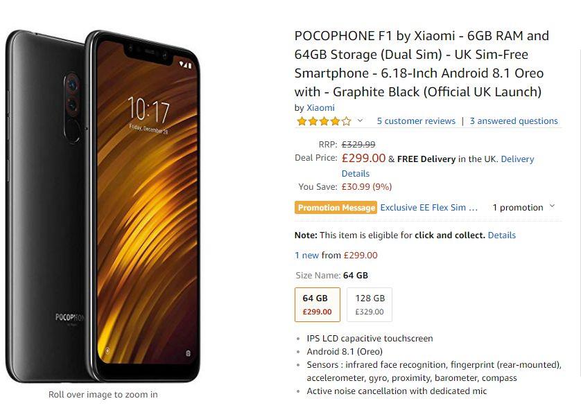 Xiaomi PocoPhone F1 Price in UK