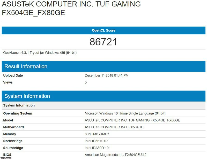 Asus TUF FX504G Performance