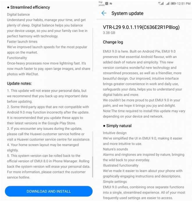 Huawei P10 Android 9 Pie