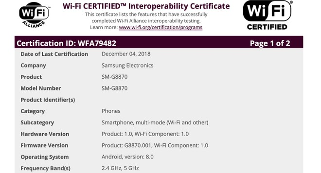 Samsung Galaxy A8s Wi-Fi certification