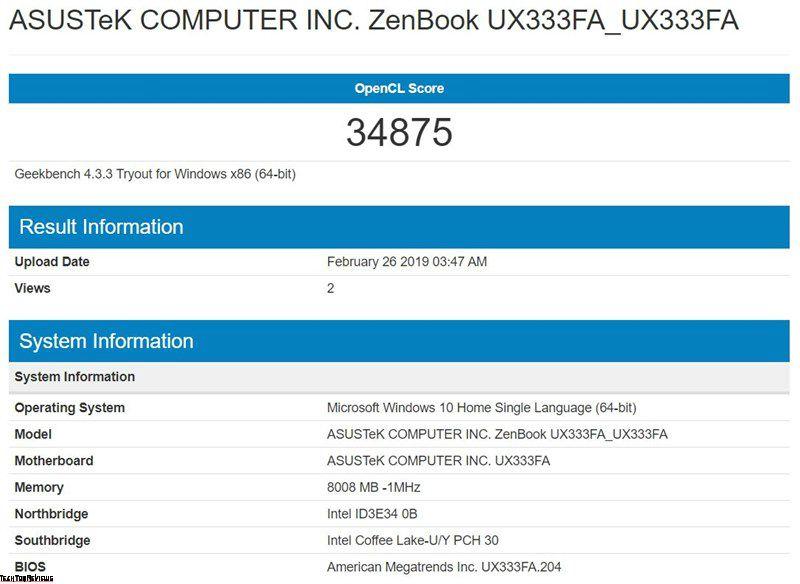 Asus ZenBook UX333FA performance