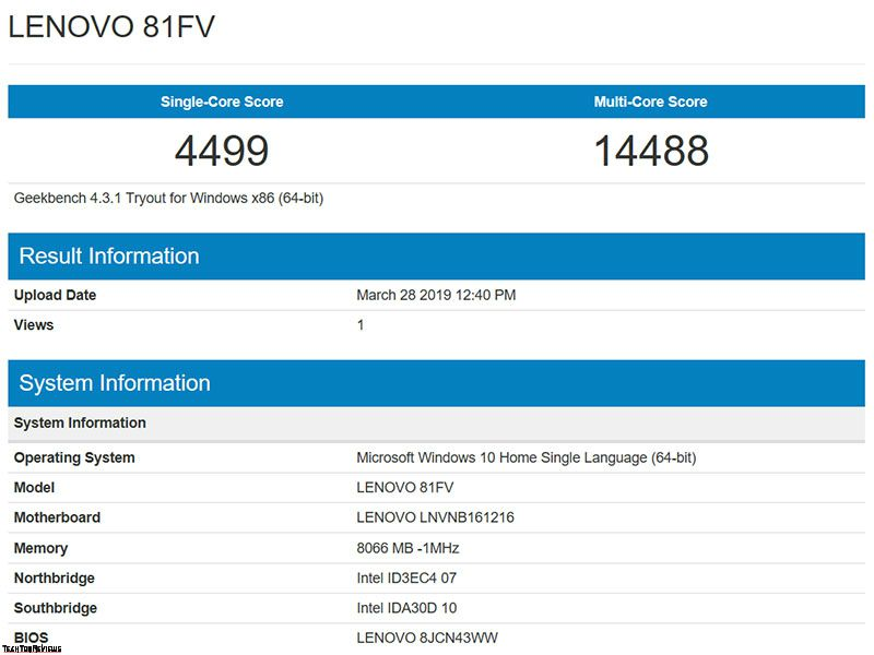 Lenovo Legion Y530 Geekbench 4