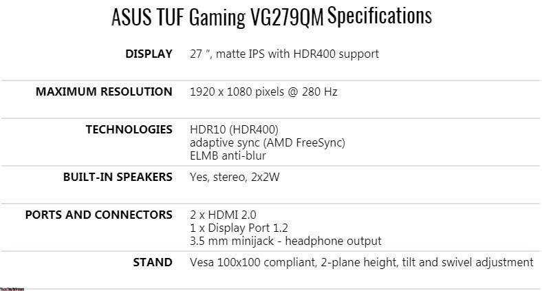 ASUS TUF Gaming VG279QM Review
