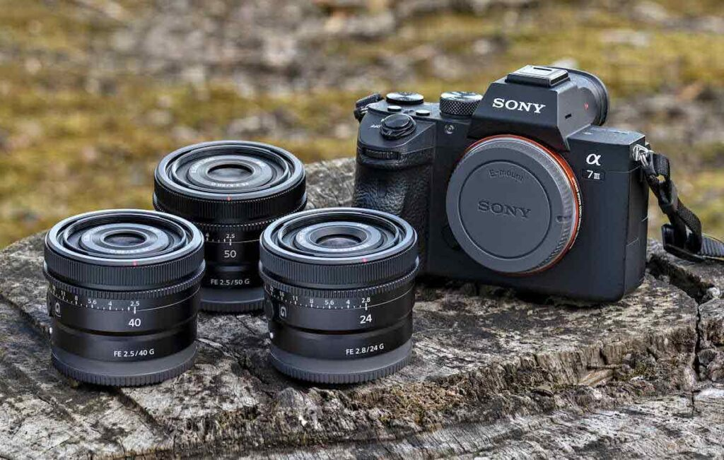 Sony FE 50mm F2.5 G, 40mm F2.5 G, and 24mm F2 .8 G Lenses
